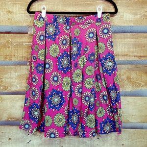 Lularoe Madison Skirt Cute Pink Floral Pattern Med